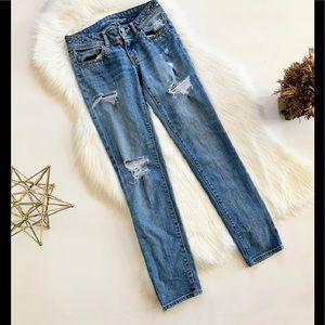 Womens American Eagle Skinny Distressed Jeans - 0